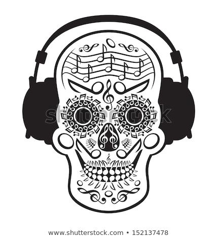 Música viciado vetor fone de ouvido cabo escrita Foto stock © beaubelle