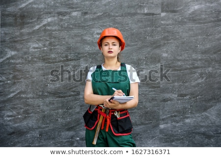 молодые · довольно · строителя · девушки · белый · рубашку - Сток-фото © cherezoff