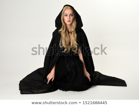 Сток-фото: полный · девушки · черное · платье · довольно · красивой · модель