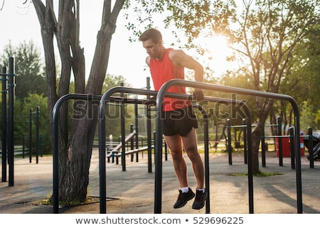 Exercise man workout out arms on dips bars stock photo © Maridav