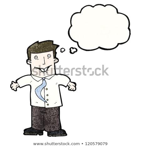 Karikatür adam omuzlar düşünce balonu el dizayn Stok fotoğraf © lineartestpilot