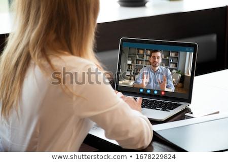 女性 座って インタビュー オフィス 女性 男性 ストックフォト © deandrobot