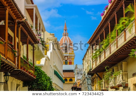 Spanish colonial house. Cartagena de Indias, Colombia's Caribbea Stock photo © Perszing1982
