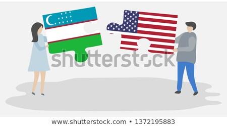 USA Üzbegisztán zászlók puzzle vektor kép Stock fotó © Istanbul2009