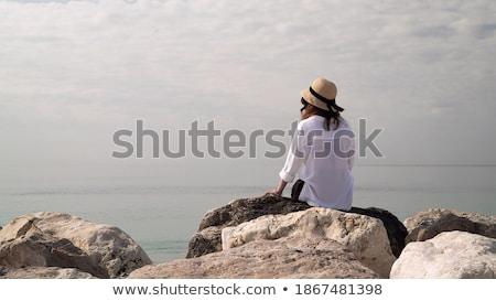 魅力的な · ブロンド · 女性 · 青 · 曇った · 空 - ストックフォト © juniart