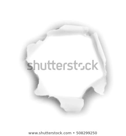 Сток-фото: кусок · бумаги · дыра · центр · белый · черная · дыра