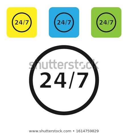 24 serviços praça vetor preto botão Foto stock © rizwanali3d