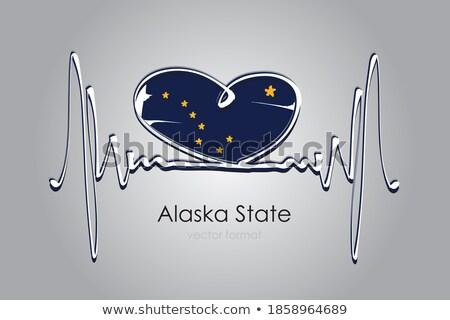 любви Аляска символ сердце флаг икона Сток-фото © tkacchuk