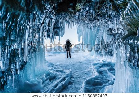 Blauw ijs grot gedekt sneeuw licht Stockfoto © goinyk