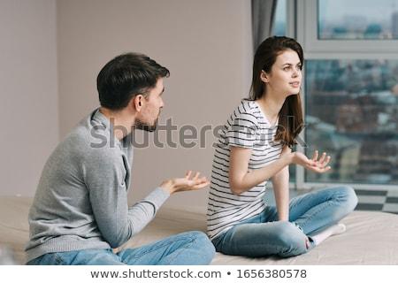 Сток-фото: Unhappy Couple Having Problems At Bedroom