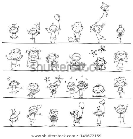 Gyerekek kéz rajzok ház autó gyerekek Stock fotó © kiddaikiddee
