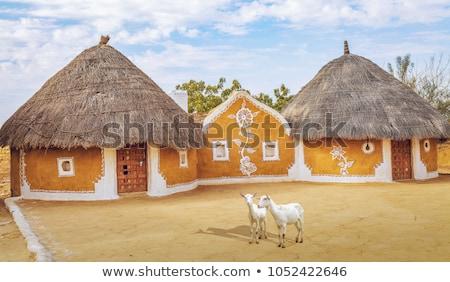 Hut landschap Indië hemel veld wolk Stockfoto © imagedb