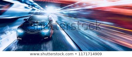 Blauw snel sport auto shot model Stockfoto © jordanrusev