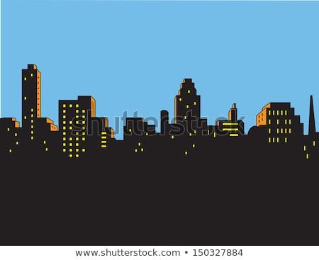 Képregény városkép jelenet város égbolt szuperhős Stock fotó © ClipArtMascots