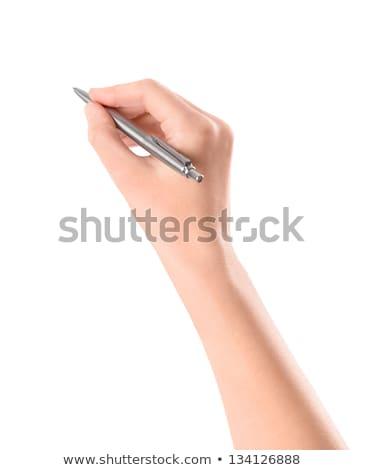 Hand metalen pen schrijven papier voorraad Stockfoto © nalinratphi