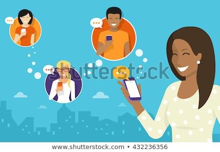 Stock fotó: Nő · sms · chat · telefon · barátok · tart · szövegbuborékok