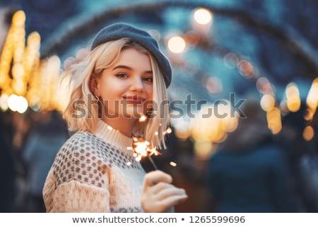 beautiful woman posing in the city on the night stock photo © konradbak