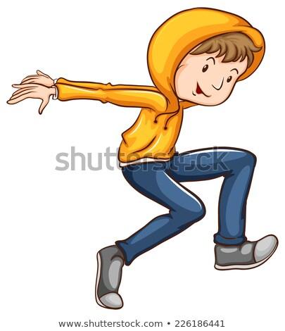 Stok fotoğraf: çizim · dansçı · turuncu · ceket · örnek · beyaz
