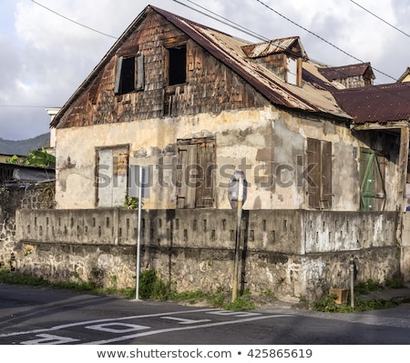 scenic wooden hut in the quarter Carib Territory in Roseau Stock photo © meinzahn