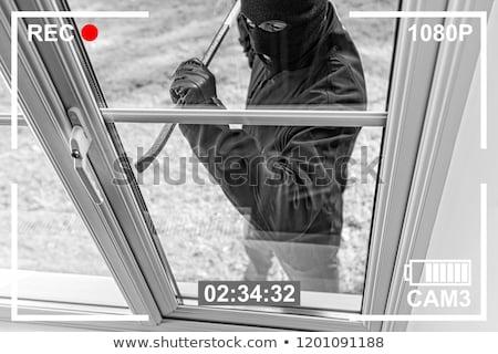 泥棒 ドア 手 ガラス セキュリティ マスク ストックフォト © sinanmuslu