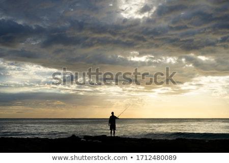 Pescador puesta de sol ilustración agua hombre deporte Foto stock © adrenalina
