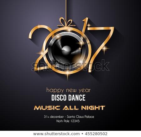 Boldog új évet diszkó buli szórólapok üdvözlet kártya Stock fotó © DavidArts