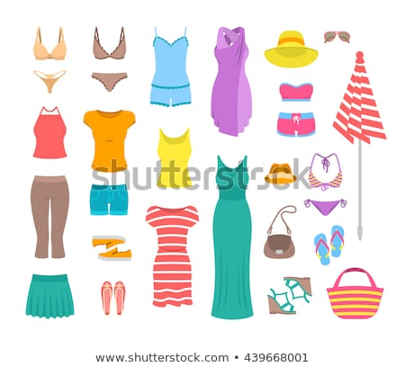 women casual summer clothes and accessories flat icons stock photo © vectorikart