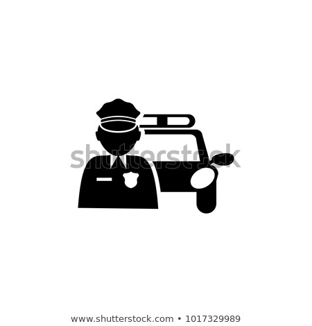 A border design with a policeman and a patrol car Stock photo © bluering