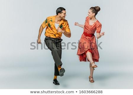 nő · tánc · vörös · ruha · zene · szexi · tánc - stock fotó © elnur