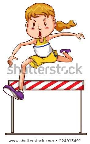 単純な スケッチ 少女 トライアスロン 競争 実例 ストックフォト © bluering
