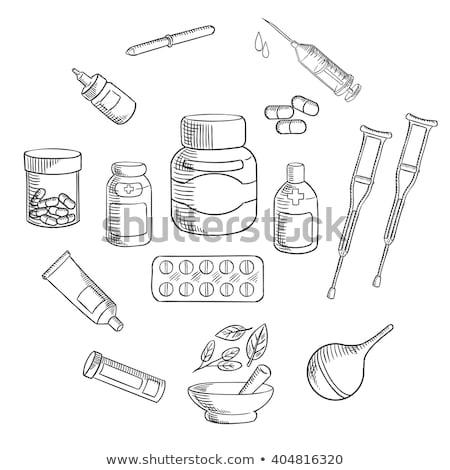 cápsula · pílula · esboço · ícone · vetor · isolado - foto stock © rastudio