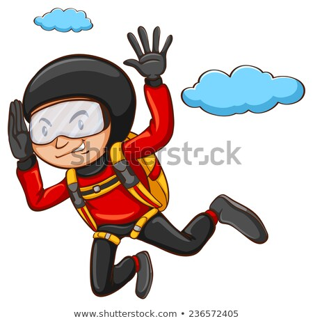 a plain drawing of a boy skydiving stock photo © bluering