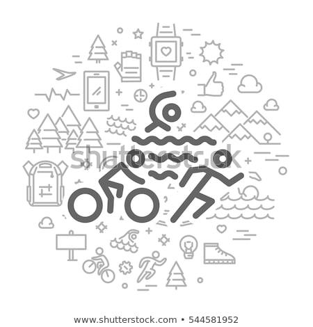 トライアスロン アイコン ロゴ 実例 スポーツ デザイン ストックフォト © bluering