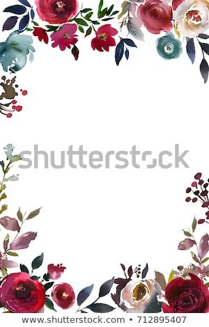 Piękna baby prysznic szablon akwarela kwiaty Zdjęcia stock © balasoiu