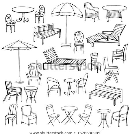 interior · design · stile · vettore · tavolo · da · pranzo · legno - foto d'archivio © rastudio