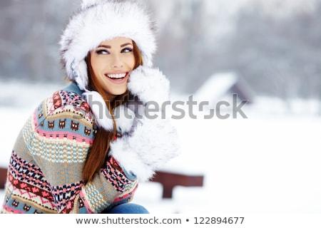 portrait · femme · hiver · paysages · ciel · sexy - photo stock © konradbak