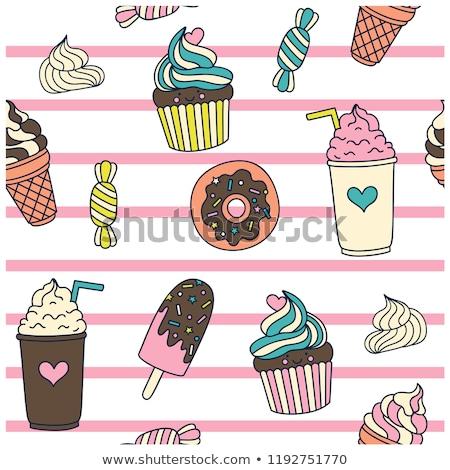 Muffins souriant kawaii style Photo stock © zsooofija