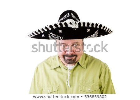 Grumpy middle aged man in Mexico sombrero hat Stock photo © ozgur