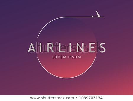 Reklama plakat linia lotnicza ilustracja tle samolot Zdjęcia stock © bluering