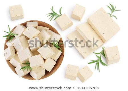 Friss szójabab tofu vágódeszka fehér organikus Stock fotó © Digifoodstock