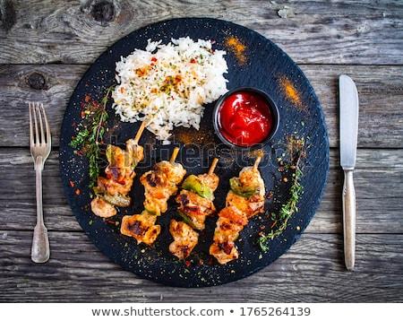tyúk · grillezett · hús · felszolgált · földimogyoró · mártás · uborka - stock fotó © digifoodstock