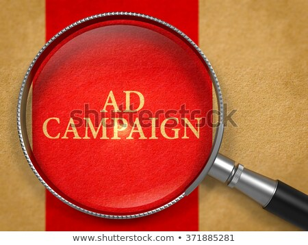 Advertentie campagne vergrootglas oud papier Rood verticaal Stockfoto © tashatuvango