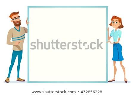 vector   european business woman holding board stock photo © nikodzhi