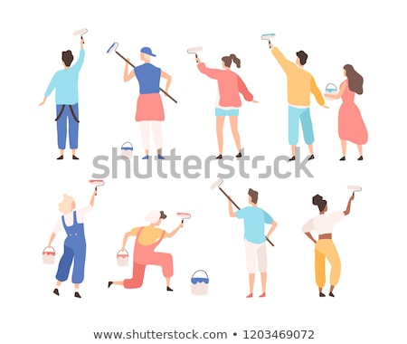 Painter Decorator Woman Cartoon Character Stock photo © Krisdog