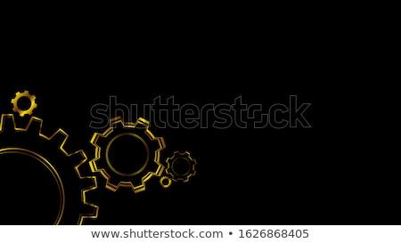 Bouw gouden metalen cog versnellingen 3D Stockfoto © tashatuvango