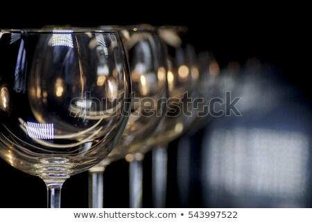 Groep lege wijnglazen zwarte glaswerk wijn Stockfoto © Valeriy