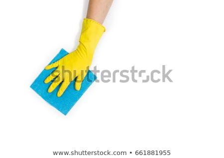 latex · kesztyű · takarítás · kéz · izolált · fehér - stock fotó © hofmeester