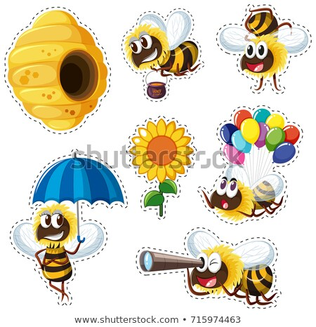 Sticker design with many bees flying Stock photo © bluering