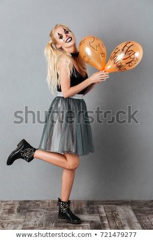 изображение Crazy счастливым женщину Хэллоуин Сток-фото © deandrobot