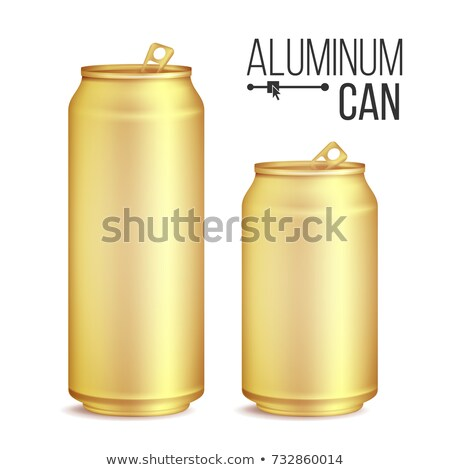Stock photo: 3d Cans Set Vector. Gold, Yellow Can. Beer, Lager, Alcohol, Soft Drink, Soda. 500 And 300 ml. Isolat
